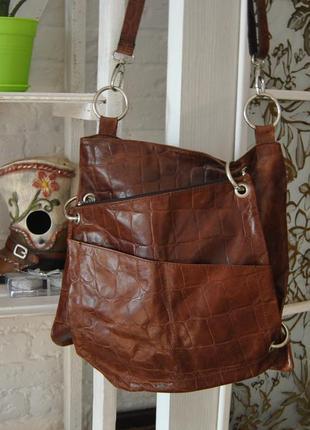 Кожаная сумка кроссбоди 2 в 1 / шкіряна сумка