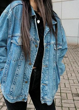 Оверсайз винтажная джинсовка, оверсайз джинсовка, винтажная джинсовка