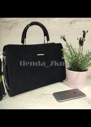 Женская лаковая сумка со вставкой из натуральной замши baliviya 19040 черная