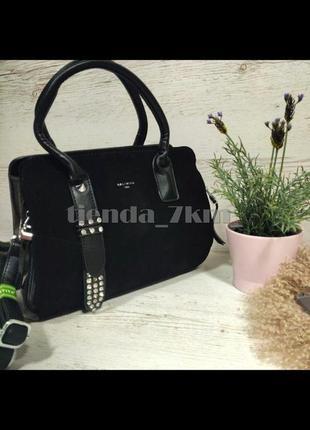 Вместительная женская сумка со вставкой из натуральной замши baliviya 19717  черная