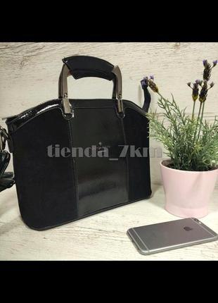 Женская сумка со вставкой из натуральной замши baliviya 7821  черная