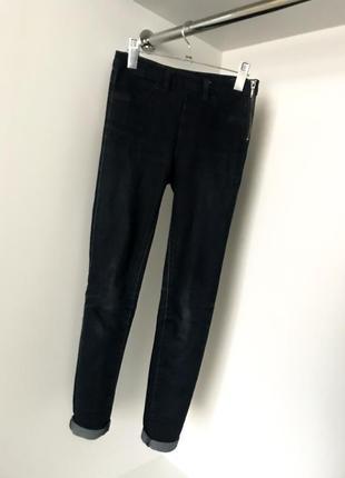 Темно-синие облегающие завышенная посадка талия джинсы джеггинсы скины сбоку на змейке
