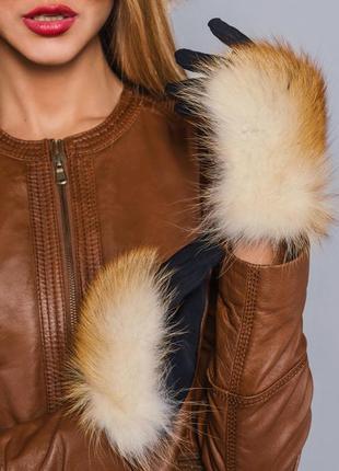 ✅зимние перчатки с натуральным мехом рыжая лиса