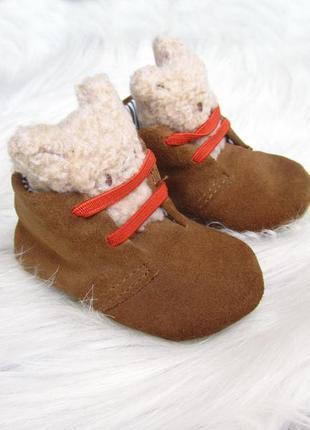 Теплые замшевые пинетки - сапожки  угги ботинки lily & dan