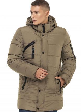 Зимняя удлиненная куртка хаки