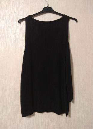 Базовая черная майка кофта в рубчик на осень большой размер new look 16-18 2xl 3xl