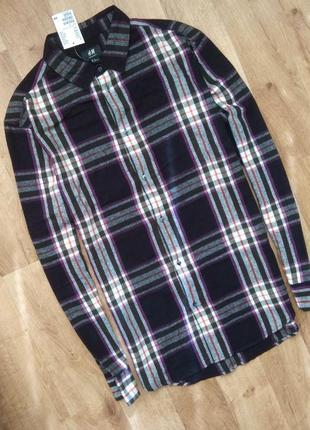 Новая с бирками мужская брендовая клетчатая  рубашка, m/l, размера.