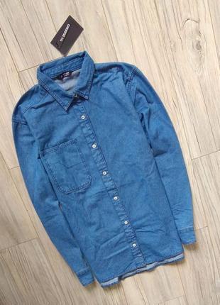 Новая с бирками мужская джинсовая рубашка, синяя  l (xl) размер.