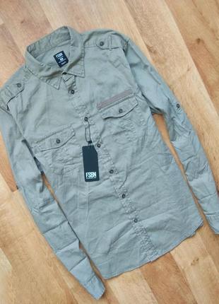 Новая с бирками мужская рубашка серого цвета, м размера.