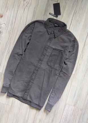 Новая с бирками мужская джинсовая рубашка , джинсовая серая , xl  размер