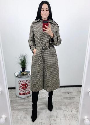 Твидовое винтажное пальто 100% шерсть зима на запах плотное