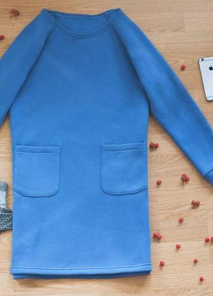 Теплое синее платье на флисе, зимнее платье с карманами, байка, платье-туника
