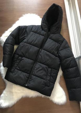 Пуховик чёрный короткий куртка зимняя xs с капюшоном чёрная синтепон next
