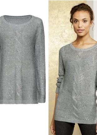 Красивый женский джемпер пуловер кофта с пайетками esmara германия