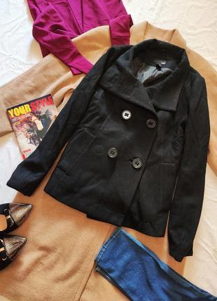 H&m чёрное пальто полупальто укороченное шерсть шерстяное