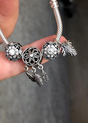 Шарм {бусинка} на браслет pandora, сказочный цветок💝