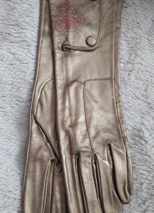 Фирменные длинные кожаные золотистые перчатки