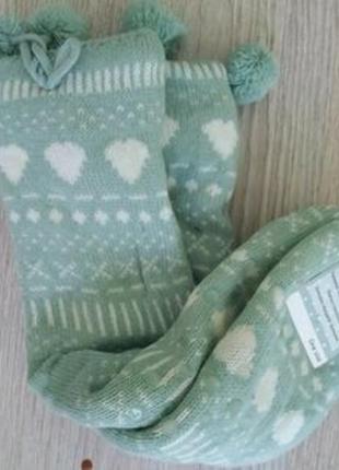 Вязаные теплые с силиконовыми тормозами  домашние валенки-носки голландия.