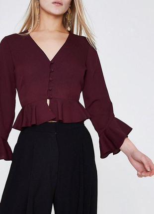 Бордовая блуза рубашка с рюшами воланами zara