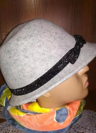 Стильная брендовая шляпка с бантиком,шерсть