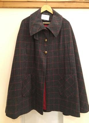 Твидовое пальто пончо с шерстью