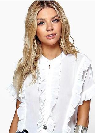 Рубашка с оборками кроп рубашка boohoo оверсайз рубашка