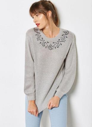 Теплый серый свитер с камнями zara zara