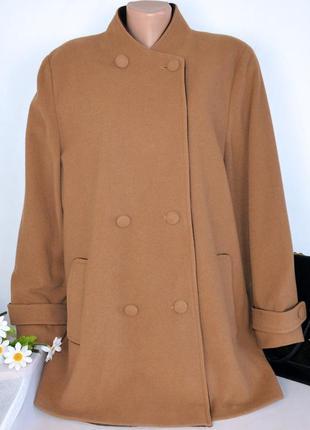 Брендовое демисезонное пальто с карманами ewm шерсть кашемир большой размер этикетка