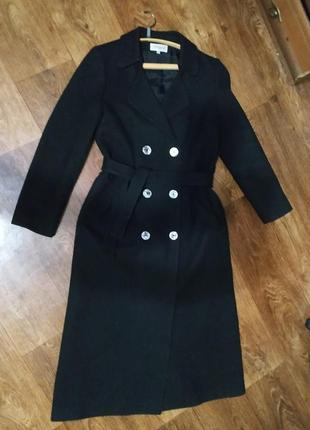 Шерстяное длинное черное пальто двубортное халат.