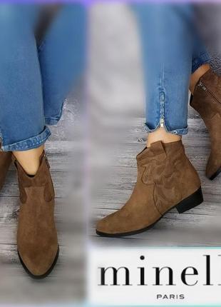 37р замша! новые minelli франция ботинки ковбойки,казаки