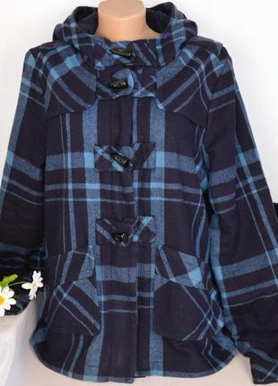 Брендовое утепленное пальто с капюшоном и карманами в клетку дафлкот topshop шерсть