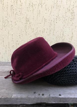 Винтаж,романтическая шляпа бархатная,вельветовая,