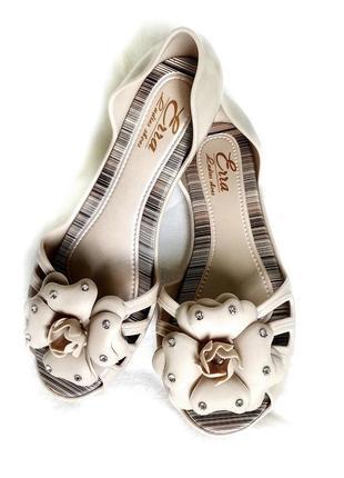 Балетки силиконовые летние сандалии босоножки светло бежевые резиновые