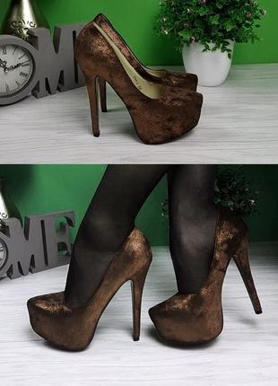 Туфли на шпильке лабутены золотистые коричневые лодочки 23см