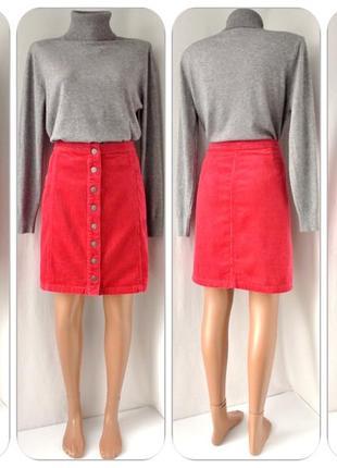 Стильная малиновая вельветовая юбка tu на кнопках. размер uk16/eur44(xl).