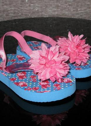 Яркие флип-флопы с цветком, вьетнамки пляжные босоножки р. 6 14,5см