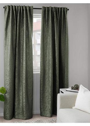Гардины шторы ikea fritse темно-зеленые, высота 3 метра. в наличии