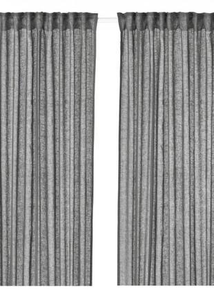 Гардины шторы ikea lejongap 3 метра темно-серые. 100% лен. в наличии