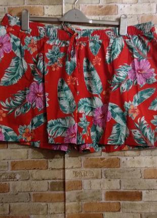 Новые хлопковые шорты в принт цветы и листья 20/54-56 размера