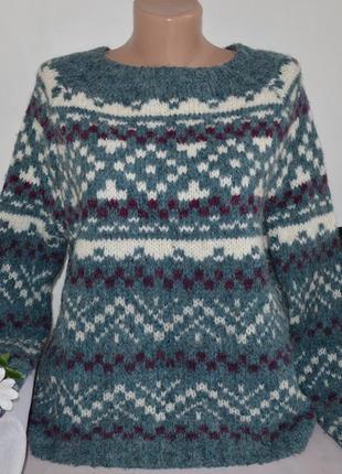 Брендовая вязаная теплая кофта свитер в орнамент fat face альпака акрил переливается