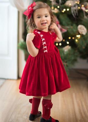 Нарядное праздничное новогоднее бархатное велюровое платье next 12-18мес
