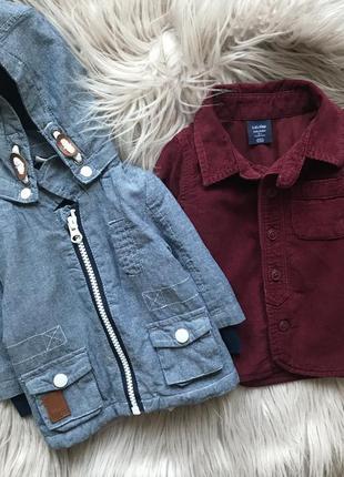Набор 1-2 мес куртка демисезонная рубашка марсала gap