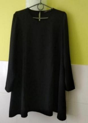 Черное платье с длинным рукавом zara