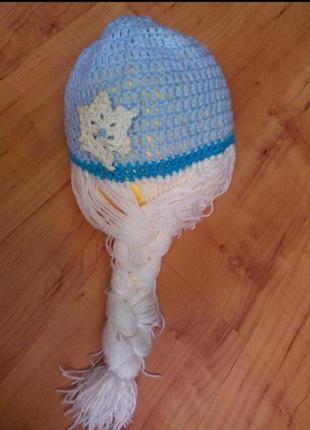 Классная шапочка с косичкой фрозен эльза