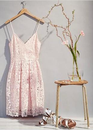 Шикарное кружевное вечернее, выпускное платье, сарафан миди h&m.
