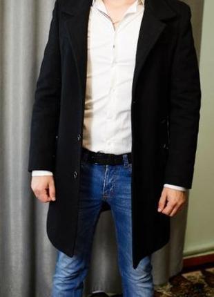 Черное кашемировое мужское пальто pierre carlos xl-xxl