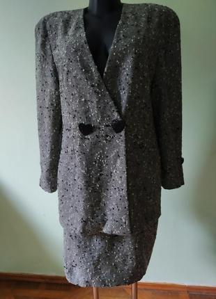 Шикарный брендовый шерстяной костюм (пиджак,юбка)  gai mattiolo