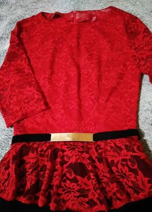 Красивый романтичный стильный комплект костюм кружево красный
