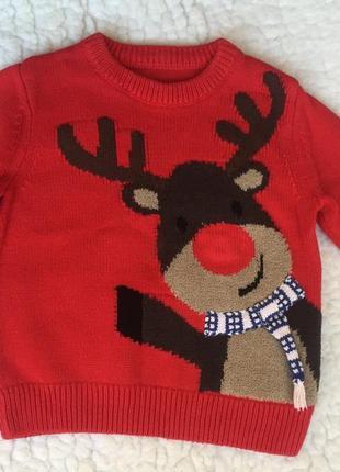 Качественный катоновый новогодний свитер с оленем