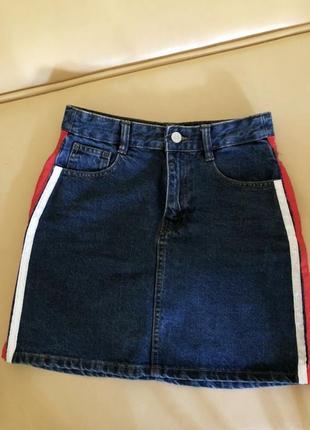 Юбка джинсовая трапеция а полоски